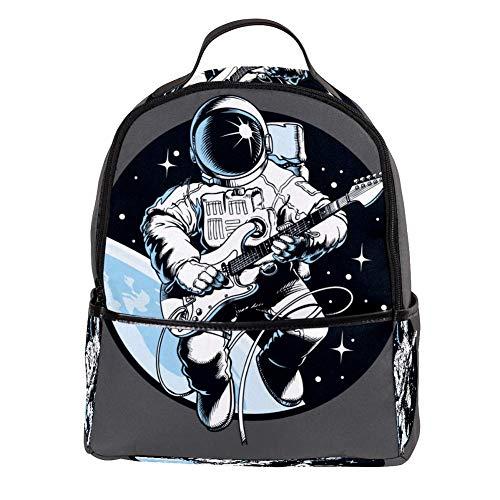 TIZORAX Laptop-Rucksack, Astronaut, Gitarre, lässig, Schultertasche, Tagesrucksack für Studenten, Schultasche, Handtasche – leicht