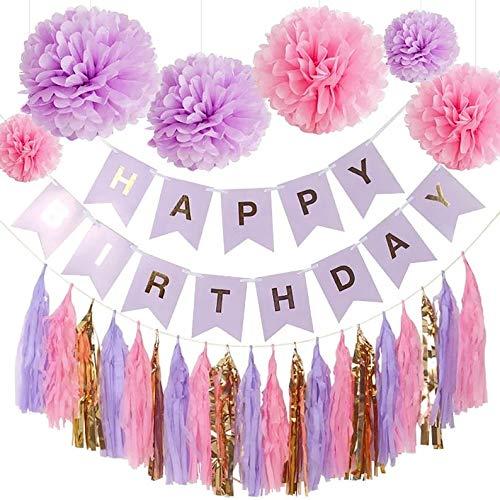 Purple Pink Party Decorations -Purple Birthday Party, Pink and Purple Birthday (WGW) Party, Pink and Purple Tassel Garland, Purple Birthday Banner