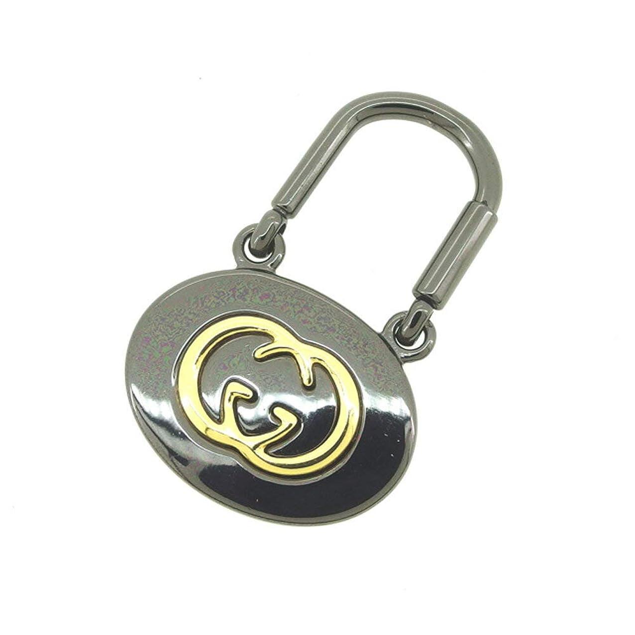 仲介者キャスト繊毛(グッチ) Gucci キーホルダー キーリング ゴールド ブラック インターロッキング レディース メンズ T8600