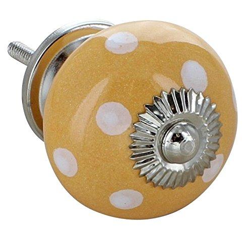 G Decor Jaune céramique Motif à pois Style rétro Shabby Chic (bouton de poignée de porte de placard tiroir Tirage/YW 4502