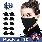 10 PCS Cotton Anti-dust Mouth Face mask Protect Cover Bandana Balaclavas, 2-Layer Unisex Reusable Fashion Washable Cover (Pack 10, Black) - UK SELLER