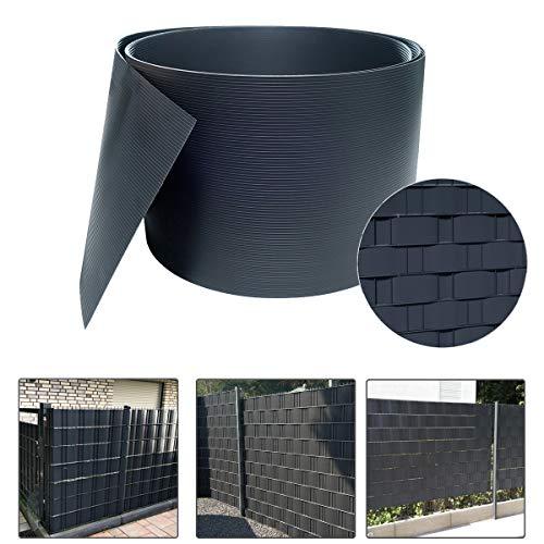 Aufun 10 Stück Hart PVC Sichtschutzstreifen Sichtschutz Windschutz Garten Doppelstabmattenzaun für Gartenzaun, Balkon, Anthrazit (2,5m*19cm, Anthrazit)