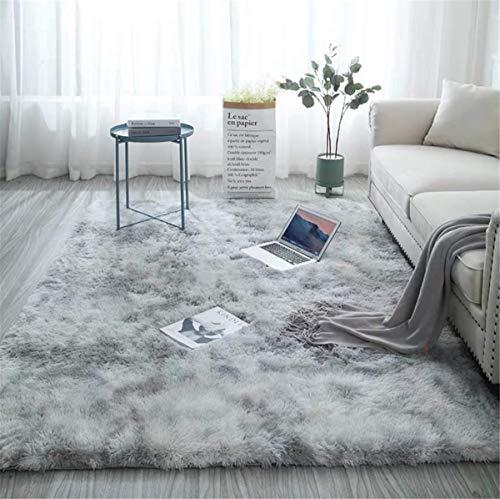 linyingdian Alfombra rectángulo Shaggy para Salón habitación de los Niños Dormitorio - Alfombra Antideslizante Muy Suave, Lavable, Tie-Dye, al Aire Libre Interior. (Gris Claro, 60×160cm)