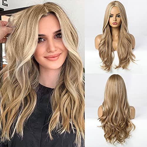 HAIRCUBE Longue perruque blonde pour les femmes, Perruques naturelles de la partie moyenne des cheveux bouclés ondulés, utilisation quotidienne de cosplay de fête