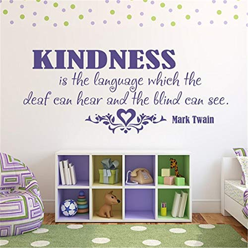 Adhesivo decorativo para pared, diseño familiar, decoración del hogar, decoración de pared con texto en inglés 'Kindness is the language that the Deaf can Hear' and the Blind can see for living room rooms or, 13x26 inches