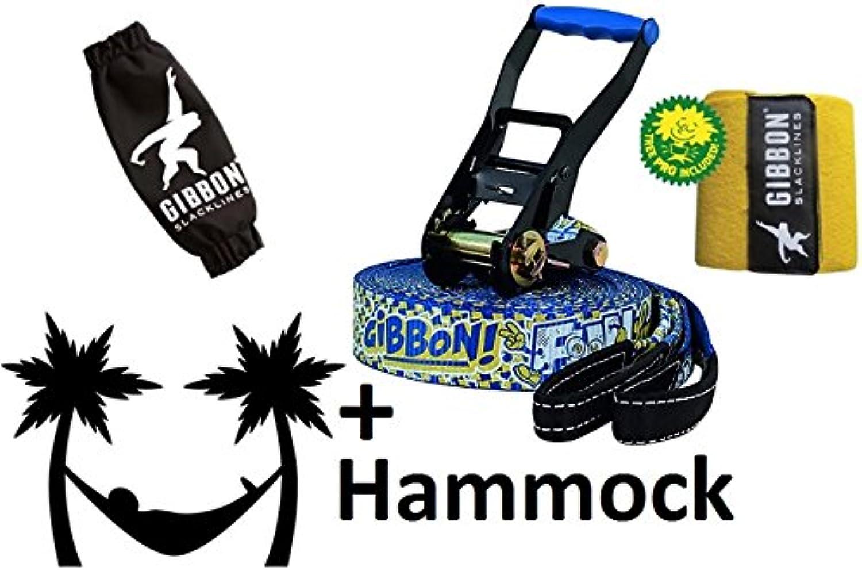 Gibbon Fun Line X13 Tree Pro Set 15m Slackline 50mm 13881 + Tukeke Hammock