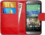 G-Shield Hülle für HTC Mini 2 Klapphülle mit Kartenfach - Rot