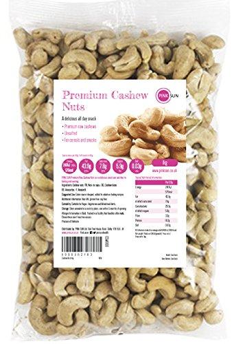 PINK SUN Noix de Cajou 1kg Crues Naturelles Sans Sel Décortiquées Entières et Moitiés Non-pasteurisé Non Salées 1000g - Raw Natural Cashews Cashew Nuts Bulk