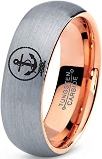 Anchor Sailor Rope Love Ring - Tungsten Band 8mm - Men - Women - 18k Rose Gold Step Bevel Edge - Yellow - Grey - Blue - Black - Brushed - Polished - Wedding - Gift Dome Flat Cut