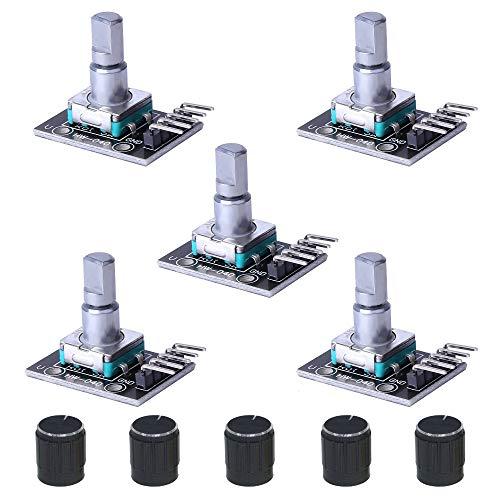 5 Stück KY-040 Rotary Encoder Modul 360 Grad Drehwinkelgeber Drehgeber mit Druckknopf Kompatibel mit Arduino
