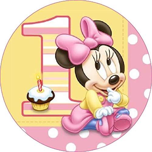 Cialda rotonda per torta BABY MINNIE TOPOLINA decorazione alimentare senza glutine personalizzazione grafica inclusa topper cake design img 4 (Pasta di zucchero, 20 cm)