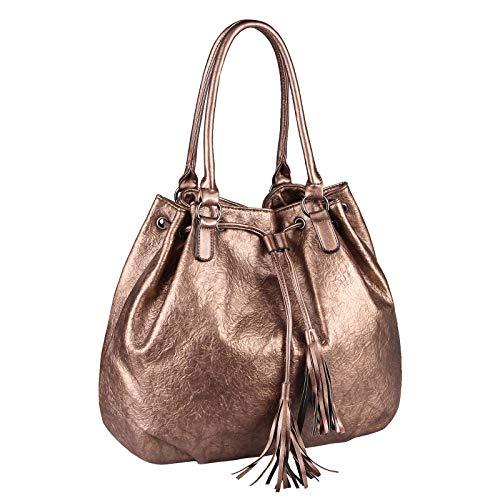 OBC Damen Tasche Schultertasche Shopper Bucket Bag Umhängetasche Handtasche Metallic Beuteltasche Tote Bag Leder Optik (Bronze 45x34x14 cm)
