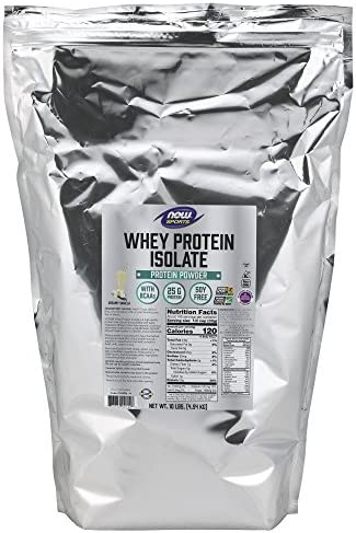 NOW Sports Nutrition, Whey Protein Isolate, 25 G With BCAAs, Creamy Vanilla Powder, 5-Pound