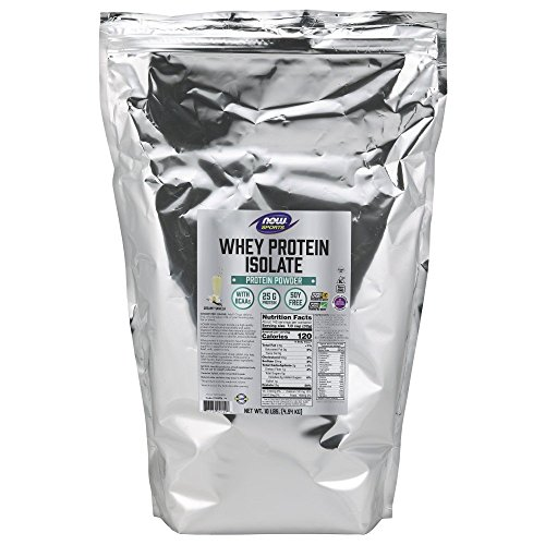 NOW Sports Nutrition, Whey Protein Isolate, 25 G With BCAAs, Creamy Vanilla Powder, 10-Pound
