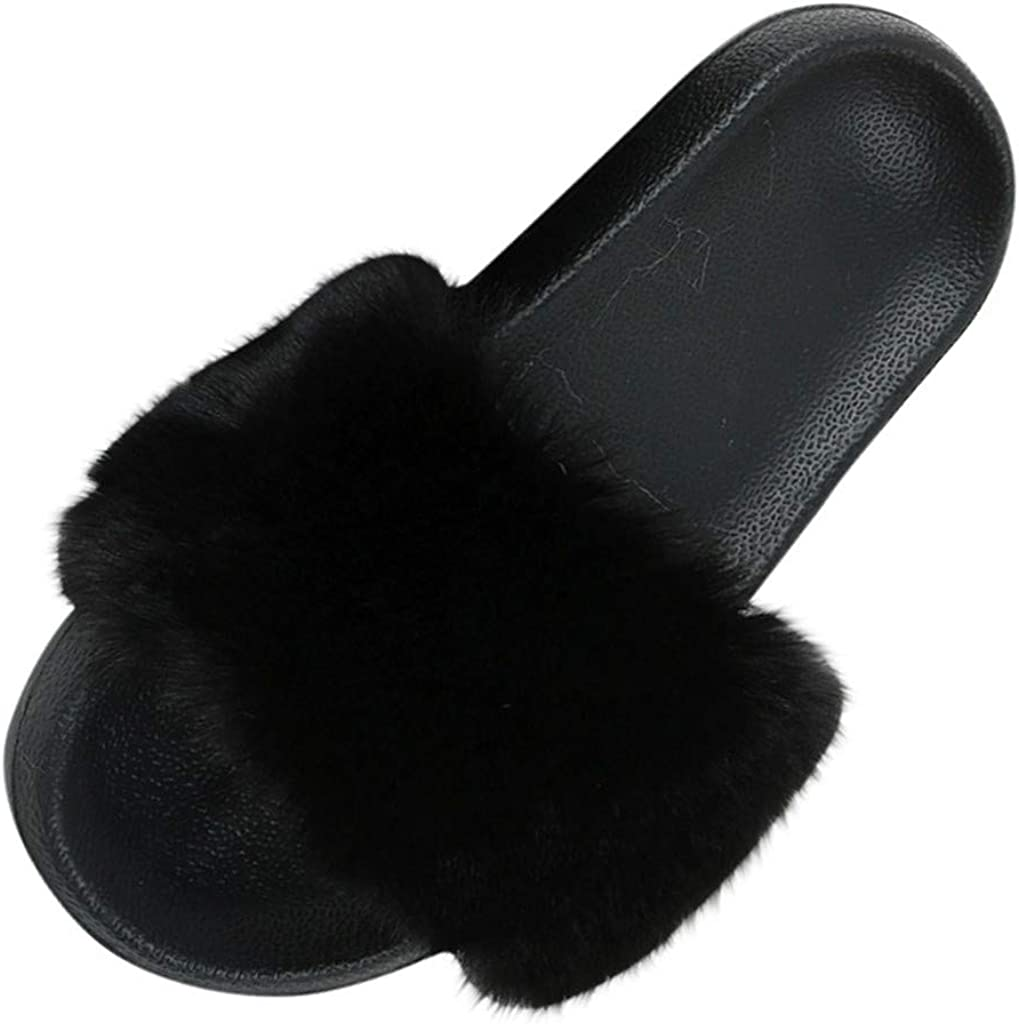 House Slides Slippers for Women Real Fox Fur Feather Vegan Leather Open Toe Single Strap Slip On Sandals Casual Shoes