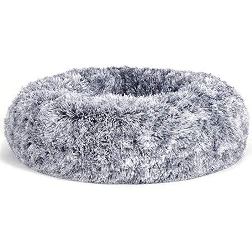 FEANDREA Hundebett, Katzenbett, weiche PV-Samtoberfläche, 70 cm, grau PGW039G01