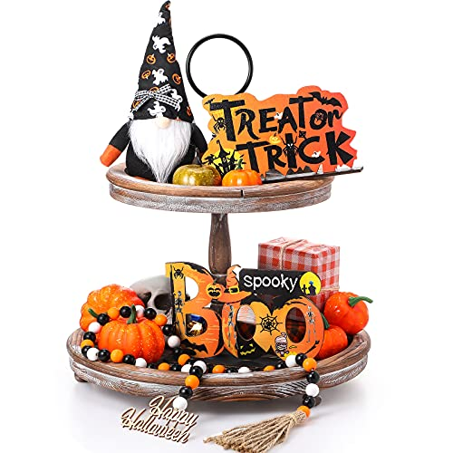 Skylety 4 Pieces Halloween Tiered Tray Decoration Set Including Gnomes Plush Doll Wood Sign Decorations Wooden Boo Sign Halloween Wooden Bead Garland for Halloween Haunted House Party