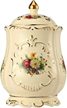 Funeral Cremation Urns for Human Ashes Medium-Sized - Made in Ceramics and Handmade - Display Burial at Home or in Niche at Columbarium (Roses and Golden Flower Edge, Yellow Decorative