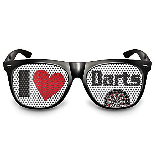 cooleartikel Dart-Brille Party-Brille Spaß-Brille mit Motiv I Love Darts, Bedruckte Sonnenbrille für Dart Fans (Nerdbrille schwarz)