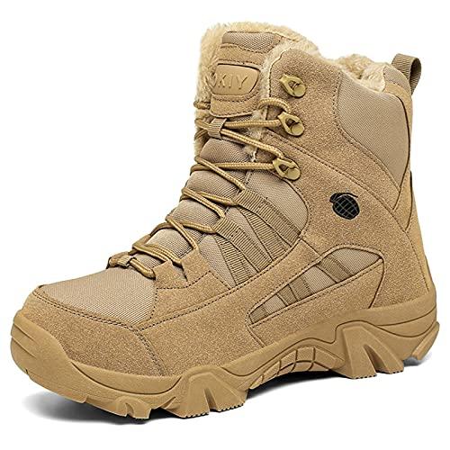YUHAI Plus Fleece Tactical Boots para Hombre con Cremallera Militar, Botas de Combate al Aire Libre cálidas de Alta Ayuda, Impermeables, Antideslizantes, Resistentes al Desgaste,Sand-44(UK9.5)