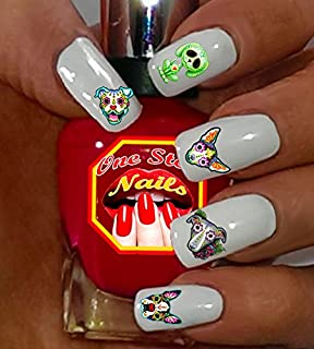 Sugar Skull Dog Nail Art Decals (Tattoo). Set of 56 Clear waterslide nail art decals. Dia de los Muertos. SSD001-56 by One Stop Nails