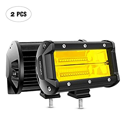 Nilight 18030C-A Amber 2PCS 5Inch 72W Double Row Flood Bar 10800Lumens Driving Fog Led Off Road Lights for Trucks Jeep ATV UTV SUV Boat Marine,2 Years Warranty