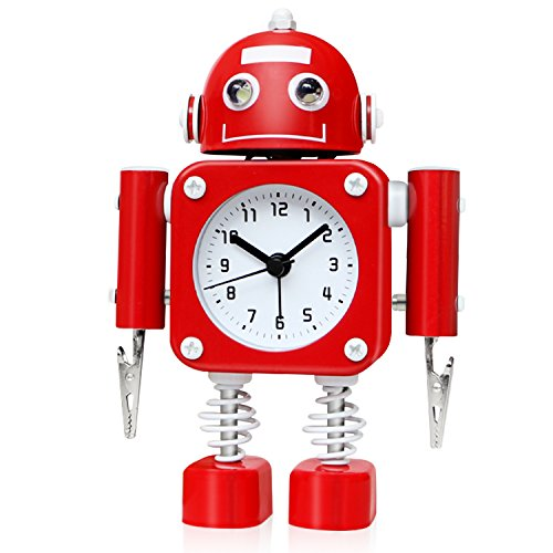 Product Image of the Betus Non-Ticking Robot Alarm Clock Stainless Metal - Wake-up Clock with...