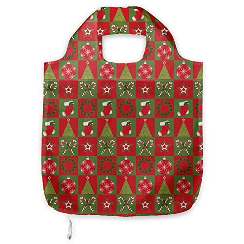 ABAKUHAUS Navidad Bolsa Reutilizable Plegable para Compras, Adornos de Navidad Eve, de...