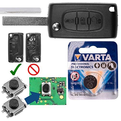 Repair Reparatur Satz Autoschlüssel Funk Fernbedienung Austausch Gehäuse mit 3 Tasten + HU83 Rohling + Batterie kompatibel mit Citroen C4 I Grand Picasso C5 III Break