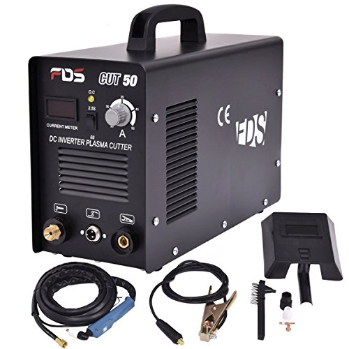Goplus CUT-50 Electric Digital Plasma Cutter Inverter 50AMP 110-220V Dual Voltage Welder Cutting with Free Mask (Black)