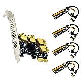 VELIHOME 4 Port PCIe Riser Adapter Board PCI-E 1x to 4 USB 3.0 PCI-E Rabbet GPU Mining Latest Adapter Accessories Tools