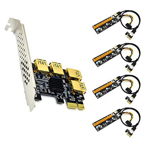 LEFUYAN Placa adaptadora PCIE USB 3.0 com 4 portas PCIe Riser PCI-E 1x para 4 USB 3.0 PCI-E Rabbet GPU com extensão de gráficos LED Ethereum ETH Mining Powered Riser cartão adaptador + cabo de 60 cm