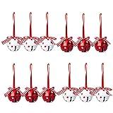 Feichanghao - Juego de 12 adornos para árbol de Navidad con campanas de metal para la fabricación de joyas, decoración de Navidad, bricolaje, color rojo y blanco