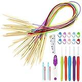 TAECOOOL Juego de 39 agujas de tejer circulares de bambú de 2 a 10 mm con...