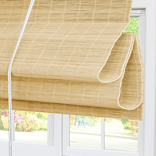 Bamboo Roman Window Shades Blinds, 60W x 36H Inches, Light Filtering UV Protection RollUp RollerShadeswithValance for Windows, Kitchen, Doors, Porch, Color 5