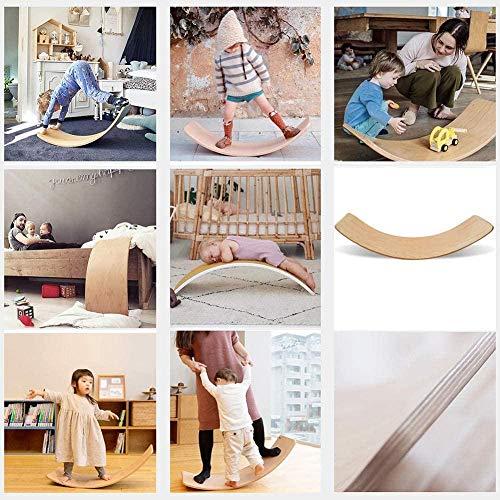 Waldorf Waldorf Tablero de Balance de Madera Desarrollo de Juguetes educativos con Capa de Fieltro - Tablero de Curvas de bamboleo para niños Leyendo el Entrenamiento para Comer-B Evolutions