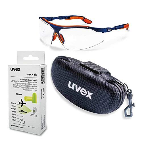 UVEX Schutzbrille i-vo supravision klar blau-orange im Set inkl. Brillenetui und Gehörschutz - Sicherheitsbrille, Arbeitsschutzbrille beschlagfrei und kratzfest