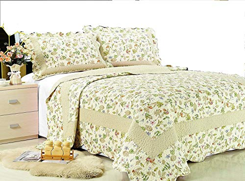 All for You 3-Piece Reversible Bedspread/ Coverlet / Quilt Set-Orange, Pink, Purple, Blue Flowers and sage Green Leaves Prints (King-90'x 100')