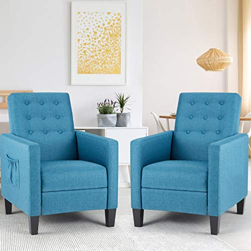 ECOTOUGE Massage Mid-Century Modern Fabric Recliner, 2 Set of Push Back Recliner Chair w/Side Pocket and Button Tufted Single Sofa Chair for Livingroom Bedroom Home and Office, Blue