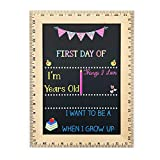 First Day of School Chalkboard, Easy to Clean Reusable Sign with Real Wooden Ruler Frame, Handmade in USA