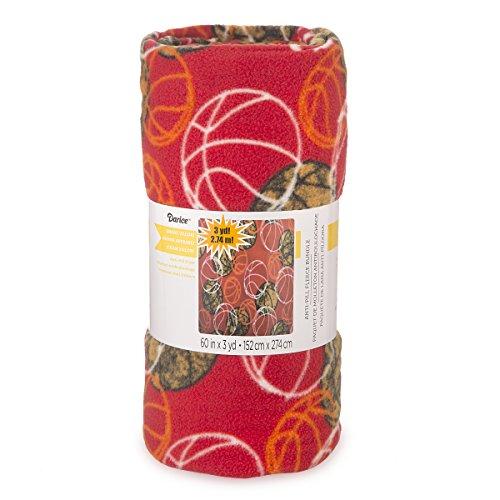 Darice Red Basketball Print Anti-Pill Fleece Fabric Roll, Multicolor