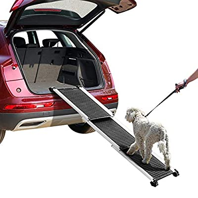 Yaheetech 28-61 Inch Collapsible Telescoping Pet Dog Cat Ramp for SUVs/Trucks/Cars/Jeeps Portable Aluminum Vehicle Ramps for Small/Medium/Large Dogs