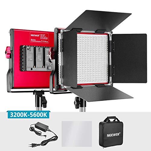 Neewer Bi-color Luz LED Video Metal Professional para Estudio YouTube Fotografía Producto Filmación Marco Durable 660 Bombillas Regulable con Soporte U Barndoor 3200-5600K CRI 96+