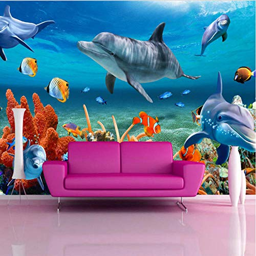 Pbbzl 3D-muurbehang, voor kinderen, onderwater, dolfijnen, vissen, papier, voor aquarium, wand, achtergrond, slaapkamer, decoratie 150 x 120 cm