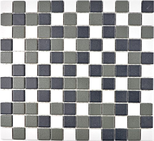 Keramische mozaïek tegels mozaïektegels keramiek tegel zwart wit metaal vloertegel badtegel wc badkuip douchebak douchewand | 10 mozaïekmatten