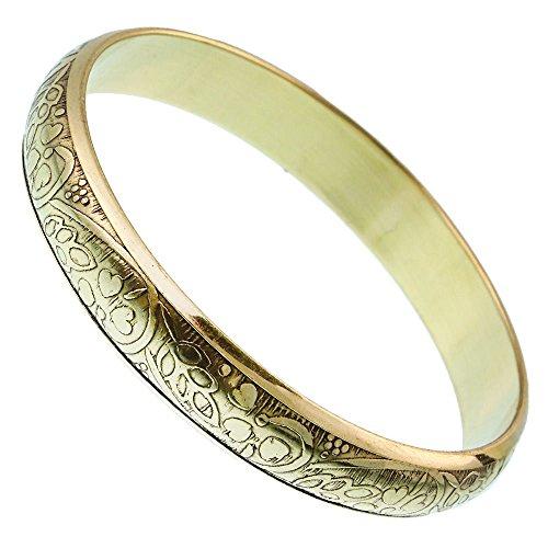 Chic-Net Messing Brass Armreif Herzen Blätter oxidiert 12 mm nickelfrei Gold antik konvex Tribal Schmuck