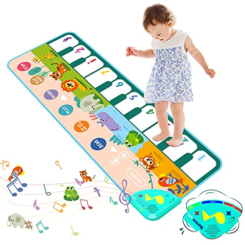 Jefshon Toddlers Piano Keyboard Playmat, Toddlers Toys for Boys & Girls 1 2 3 4 years Educational Toys, Kids Piano Dance Mat Musical Toys, 8 Animal Sounds, 6 Modes,10 Demos, Size 43.3*14.2 inch