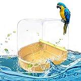 Kitabetty Parrot Bath Bird Suministros de baño, Accesorios para jaulas de pájaros Parrot Supplies Bañera para baño Caja de baño para Aves con diseño Universal Sin Fugas para la mayoría de jaulas