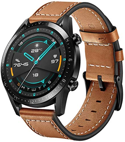 SPGUARD Armband Kompatible mit Huawei Watch GT2 46mm Armband Huawei Watch GT 2e Armband,22mm Lederarmband mit Schnellverschluss für Huawei GT 2 46mm/GT 2e/Active/GT/Honor Magic Watch 2 46mm(Braun)