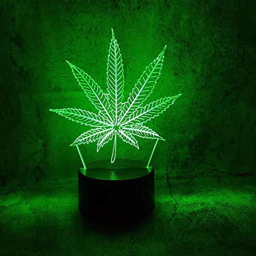 Lámpara de ilusión 3d luz nocturna led Marihuana Forma de hoja de cáñamo Touch Control remoto lámpara de escritorio lámpara de mesa Holiday Home Dormitorio Decoración Cumpleaños